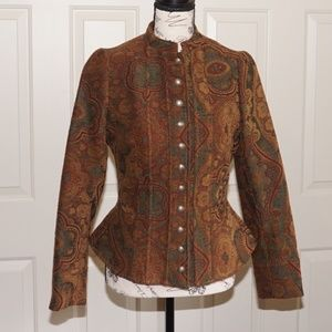 Unique Vintage-Style Wool Tapestry Jacket.